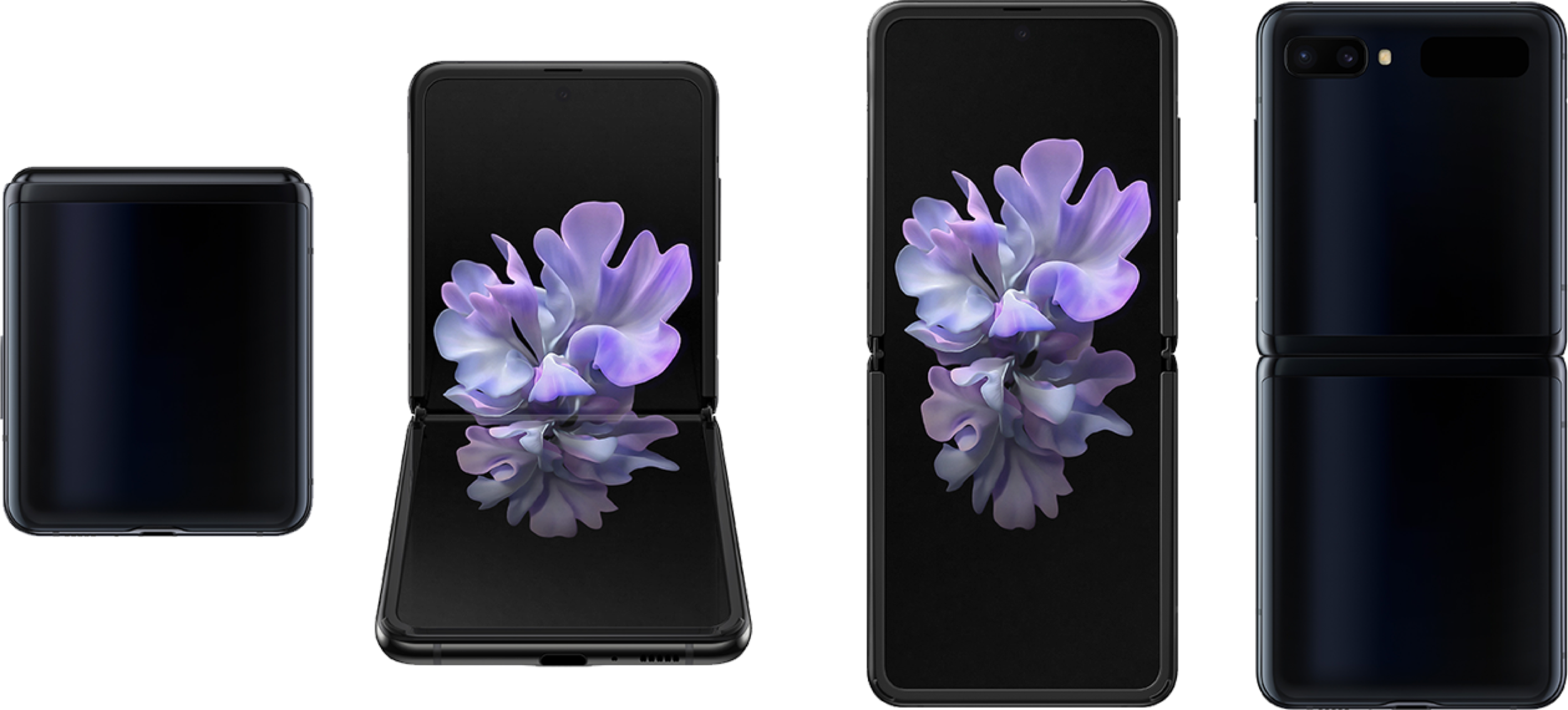 Front, back and side views of the Samsung Galaxy S20 5G phone.