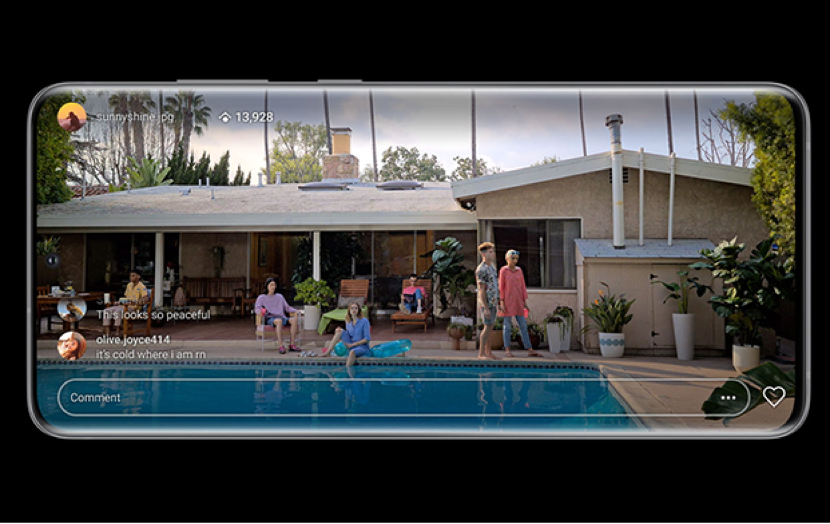 Samsung S20 5G phone screen streaming view of backyard of home with pool and people.
