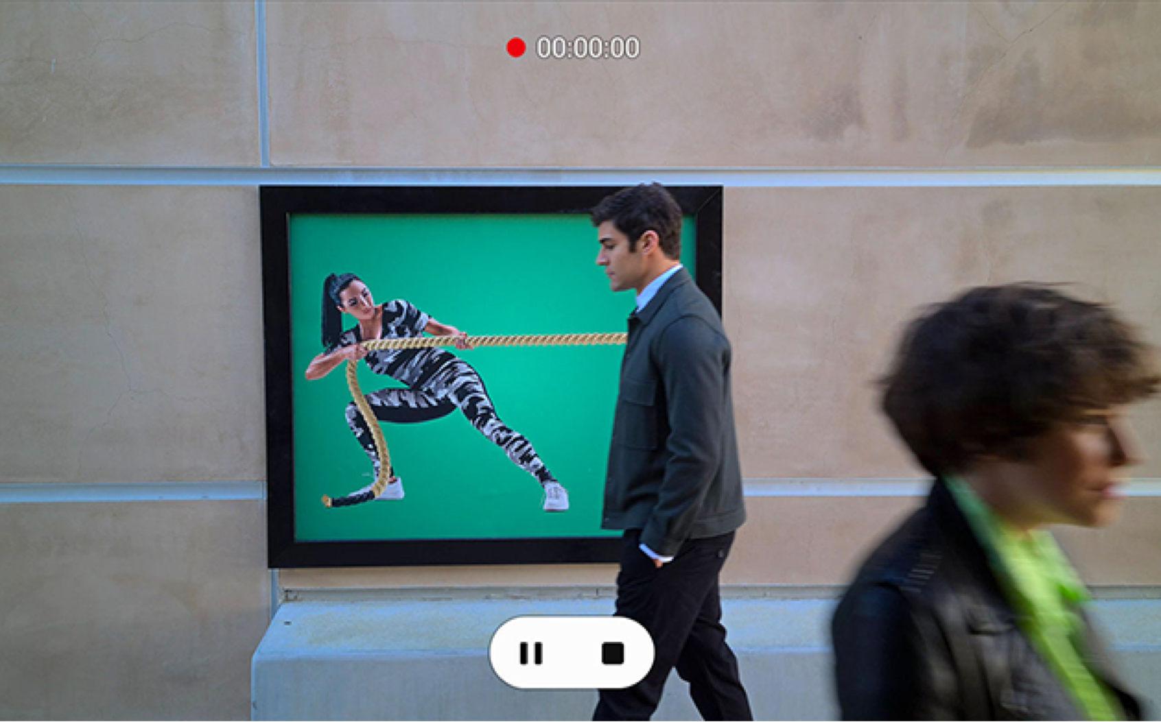 Image of a video recording people in an art gallery