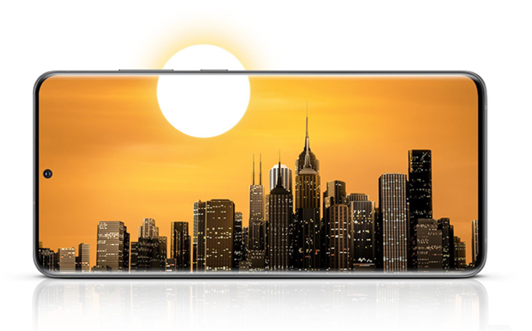 Samsung S20 5G screen horizontal display of city skyline with sun extending past screen