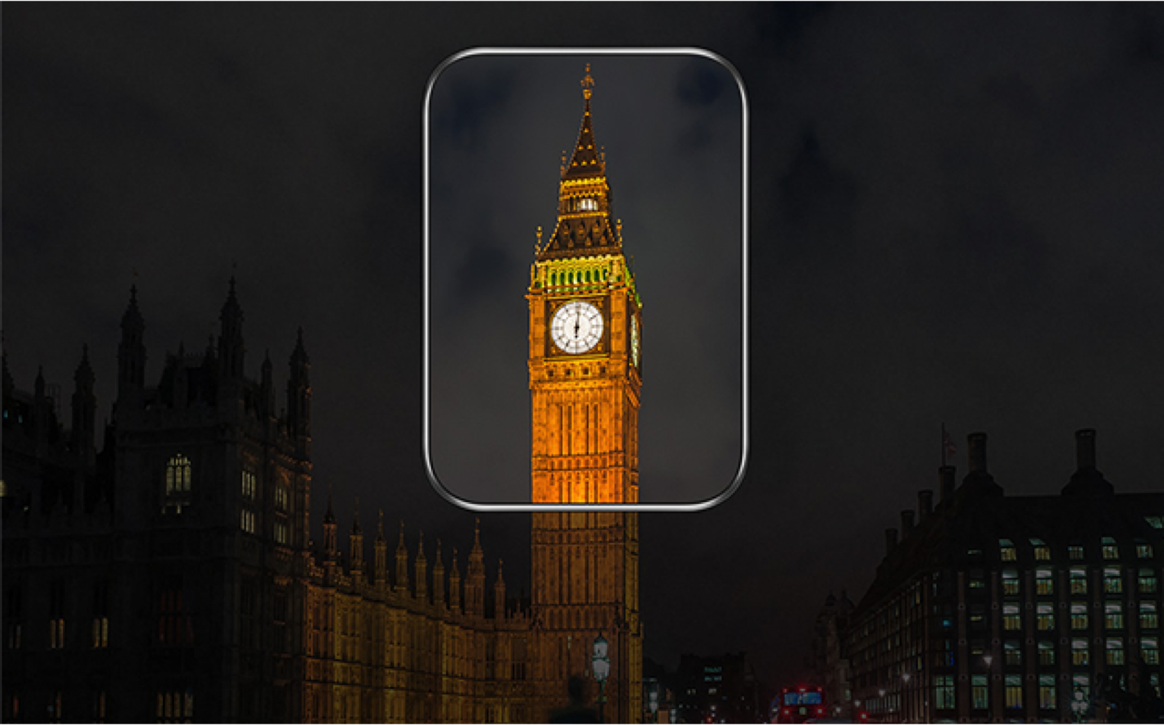 Samsung screen displaying Night view of Big Ben clock tower.