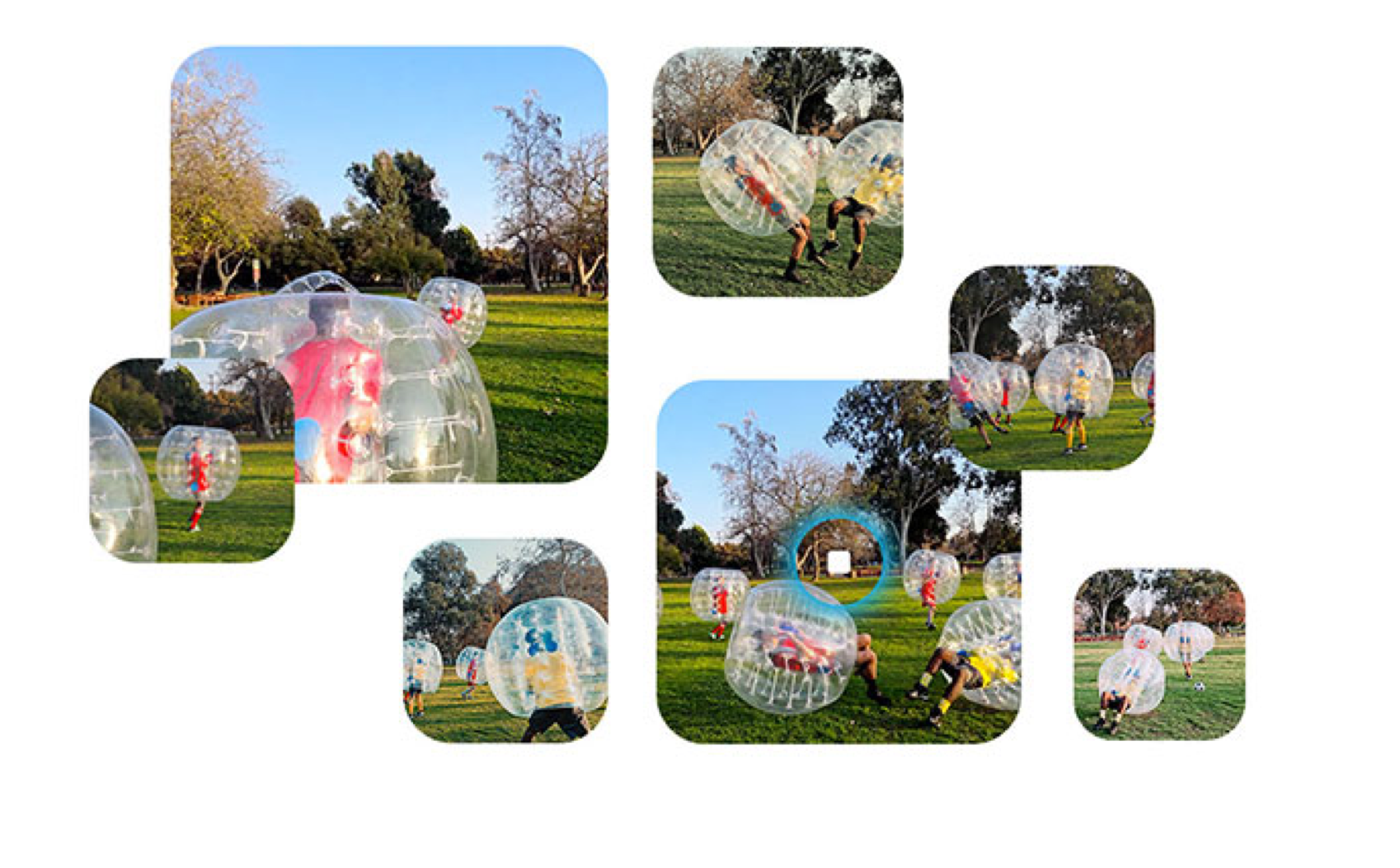 Multiple bubbles of images of children playing